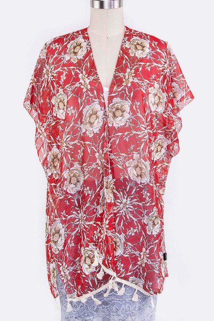 Rose Print Sleeveless Shawl - orangeshine.com