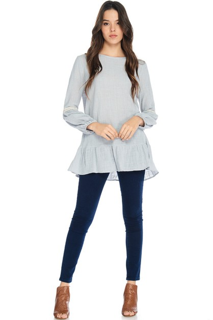 Long Sleeve ruffled tunic top - orangeshine.com