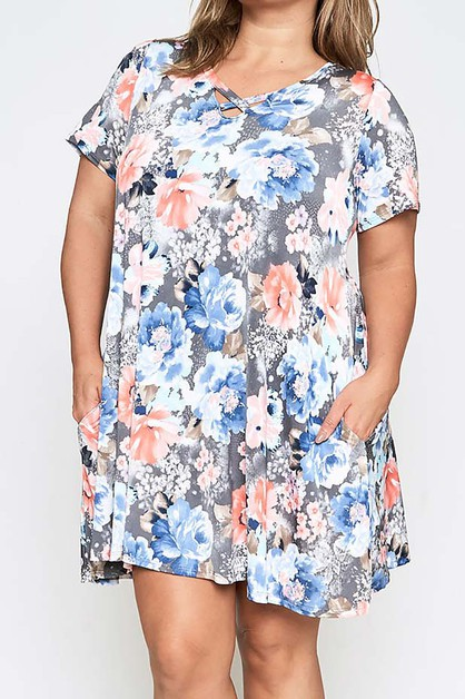 FLORAL PRINT SWING DRESS WITH POCKET - orangeshine.com
