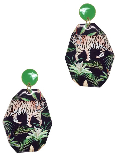 TIGER JUNGLE PRINT GEOMETRIC EARRING - orangeshine.com