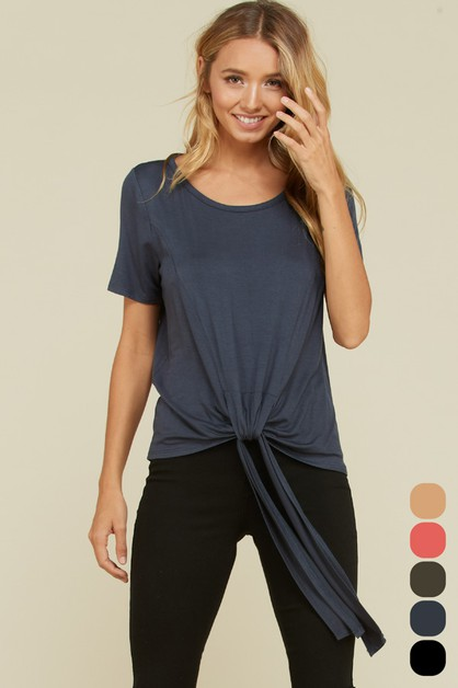 Comfy Round Neck Front Tie Top  - orangeshine.com