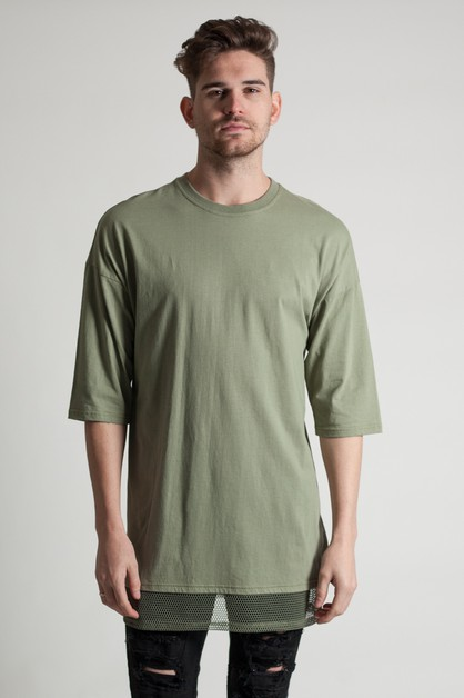 DROP SHOULDER MESH TEE  - orangeshine.com