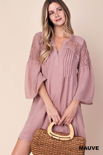 LACE MIX SHIRTS NECK DRESS - orangeshine.com
