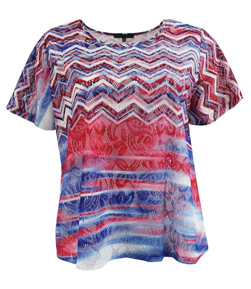 Red White Blue Lace Plus Size Tee - orangeshine.com