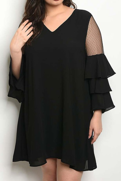 BELL SLEEVE V NECK PLUS DRESS - orangeshine.com