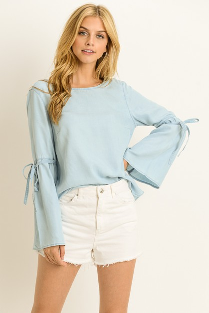 Chambray Bell Sleeve Blouse - orangeshine.com