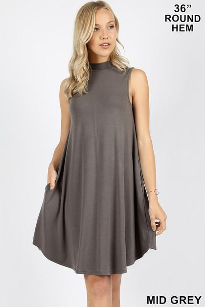 PREMIUM MOCK NECK SLEEVELESS DRESS  - orangeshine.com