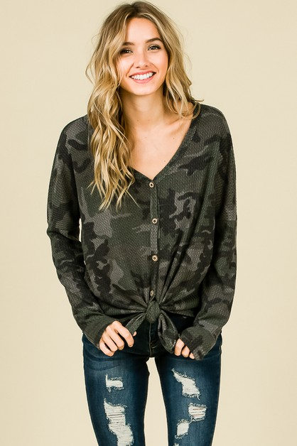 CAMO LONG SLEEVE FRONT TIE TOP - orangeshine.com