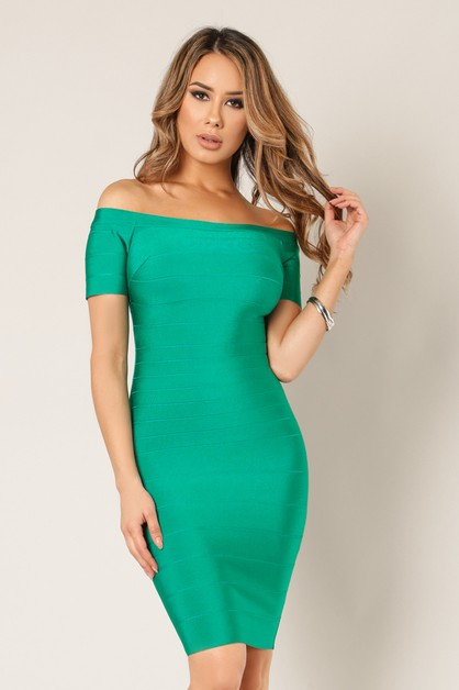 Off Shoulder Bandage Dress - orangeshine.com