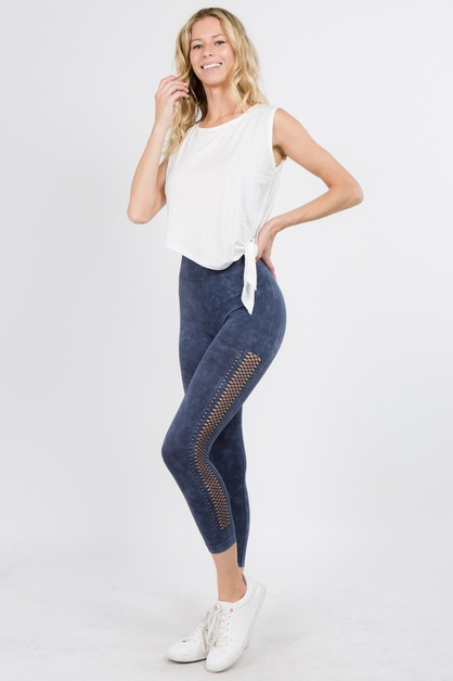 Vintage Side Mesh Capri Leggings - orangeshine.com