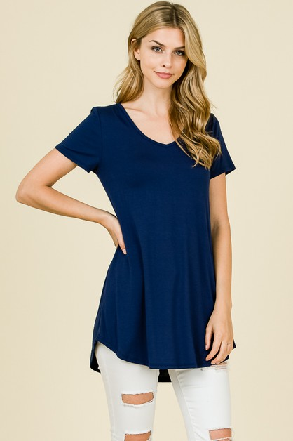 RELAXED FIT V-NECK TUNIC TOP - orangeshine.com