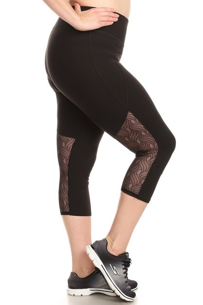 Plus Size Sports Capri Leggings mesh - orangeshine.com
