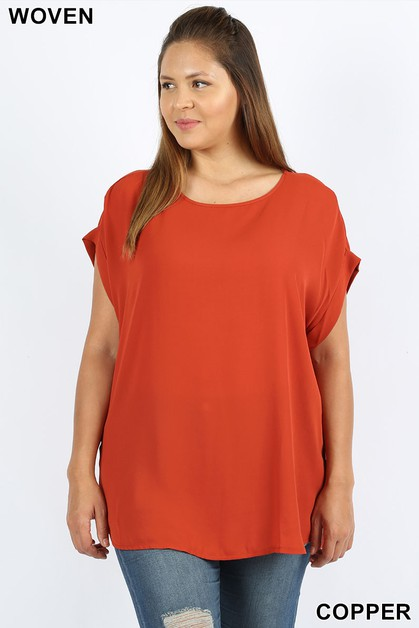 WOOL DOBBY SHORT CUFF SLEEVE TOP - orangeshine.com