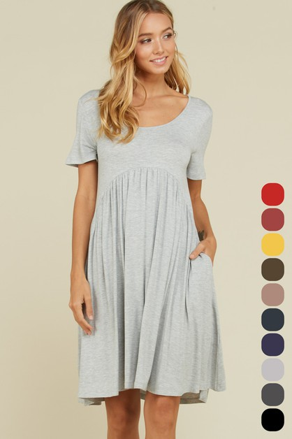 Short Sleeve Pocket Midi Dress - orangeshine.com