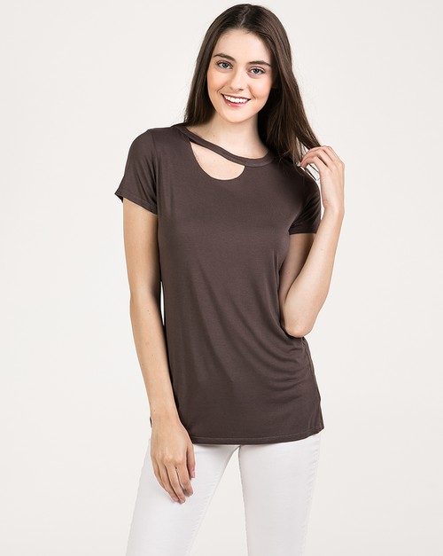 Asymmetrical Cut Edge Neck Tee - orangeshine.com