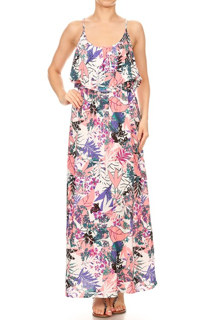 Womens Tropical Maxi Dresses Floral - orangeshine.com