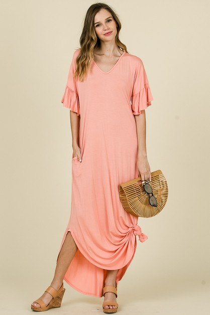 SOLID MAXI TEE DRESS - orangeshine.com