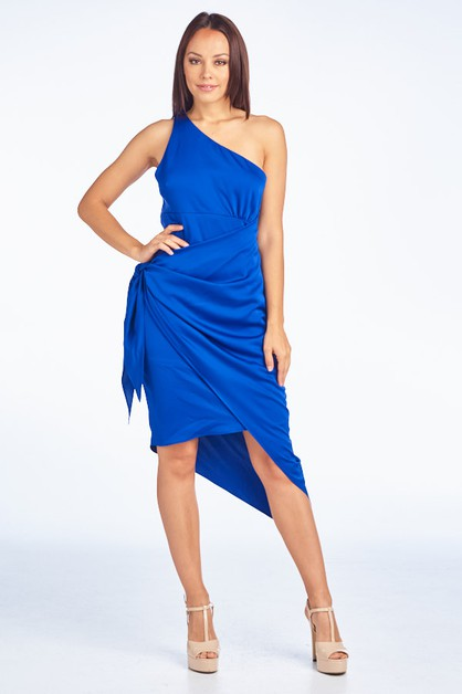 One Shoulder Satin Dress - orangeshine.com