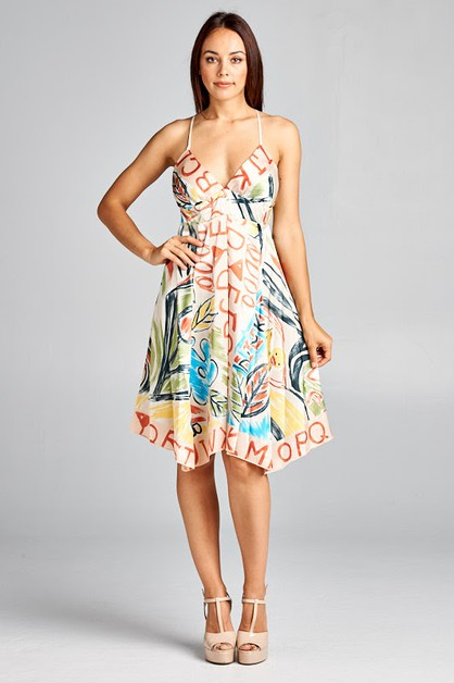 V-Neck Printed Dress - orangeshine.com