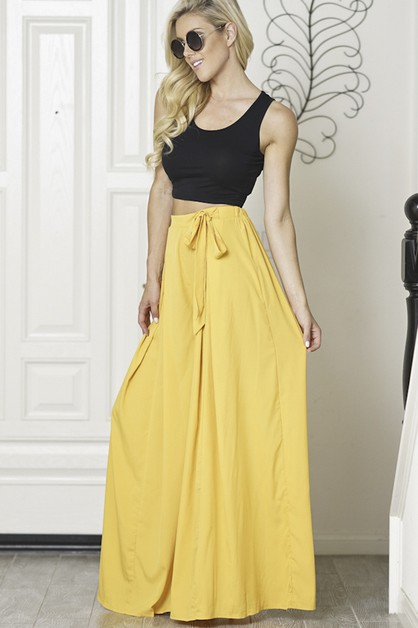 High waist long wide leg pants - orangeshine.com
