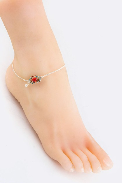 Crab and Pearl Charms Anklet - orangeshine.com