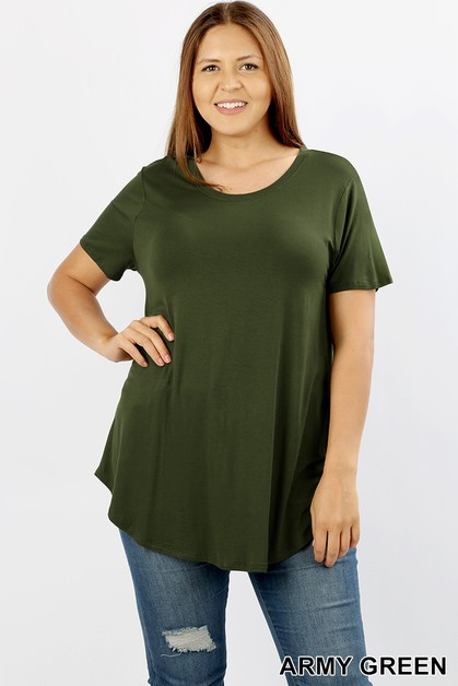 PLUS RAYON  ROUND HEM AND NECK TOP - orangeshine.com