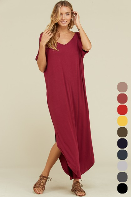 Loose Fit Open Back U-Hem Maxi Dress - orangeshine.com