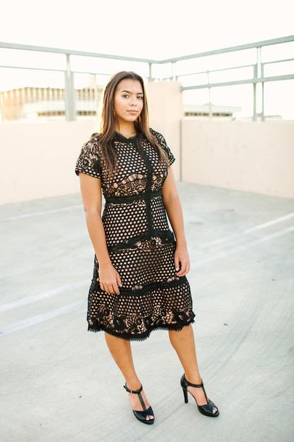 Chantel Dress - Crochet Black Plus - orangeshine.com