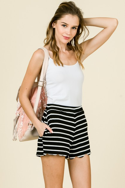 STRIPE SCALLOP HEM SHORTS - orangeshine.com