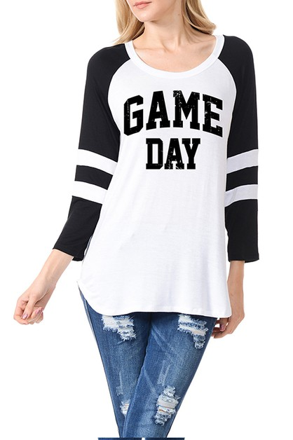 GAME DAY 3Q COLOR BLOCKED TOP - orangeshine.com