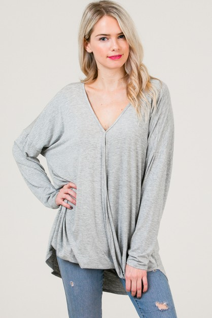 Long Sleeve V Neck tunic top - orangeshine.com