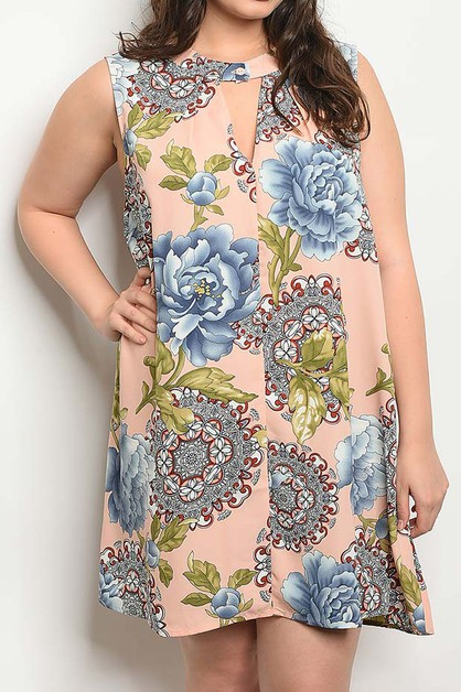 KEY HOLE DETAIL FLORAL PRINT DRESS - orangeshine.com
