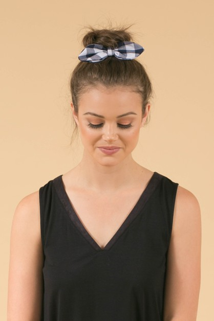 Blue Gingham Bow Hair Scrunchie - orangeshine.com