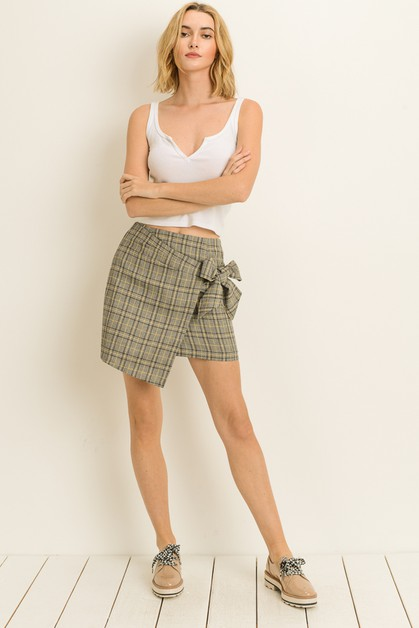 Plaid Wrap Skirt - orangeshine.com