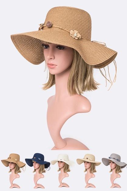 Flower Accent Straw Sun Hat - orangeshine.com