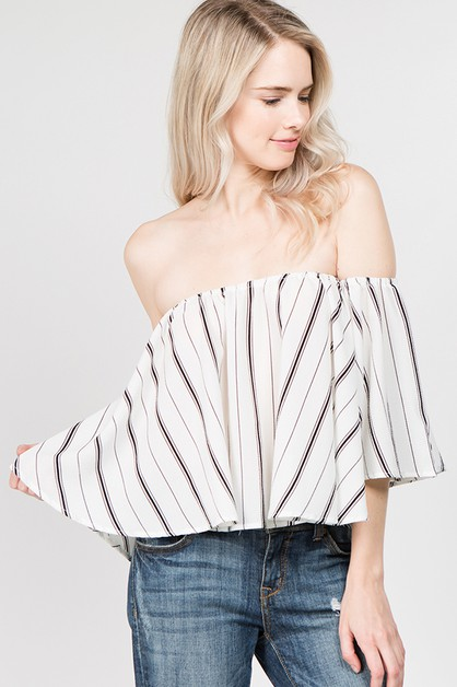 Stripe Off Shoulder Ruffle Sleeve To - orangeshine.com