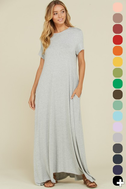 Round Neck Uneven Hem Maxi Dress - orangeshine.com