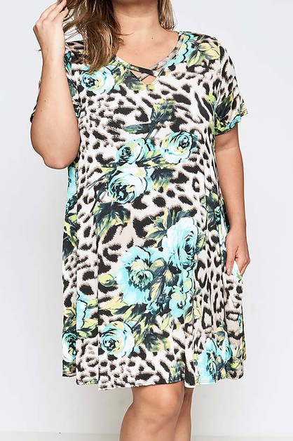 ANIMAL PRINT POCKET DETAIL DRESS  - orangeshine.com