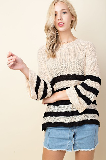 Striped Roll Up Sleeve Sweater Knit  - orangeshine.com