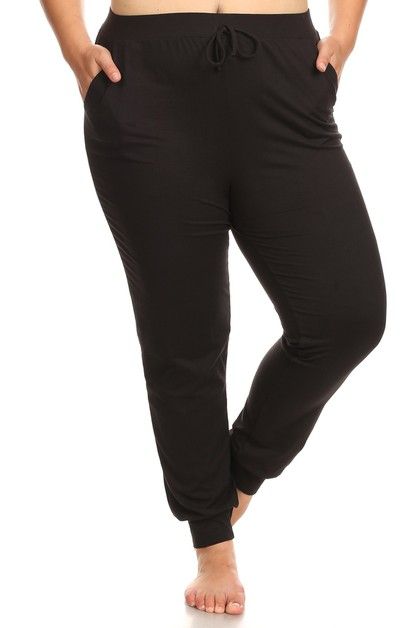 Plus Size Black Joggers Sweatpants - orangeshine.com