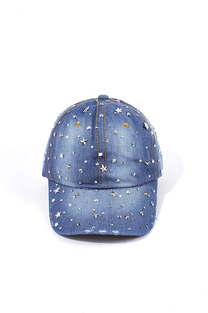 Faded Denim Rhinestone Cap - orangeshine.com