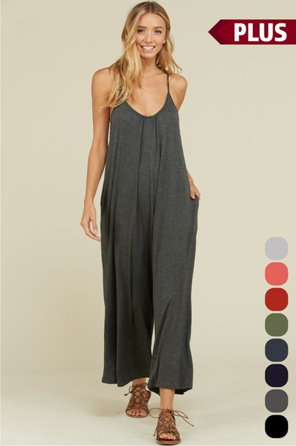 Plus Wide Leg Pocket Jumpsuit - orangeshine.com