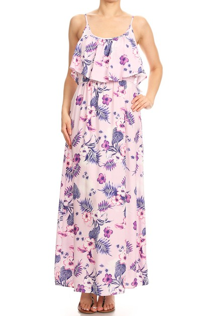 Pink Tropical print Maxi Dresses  - orangeshine.com