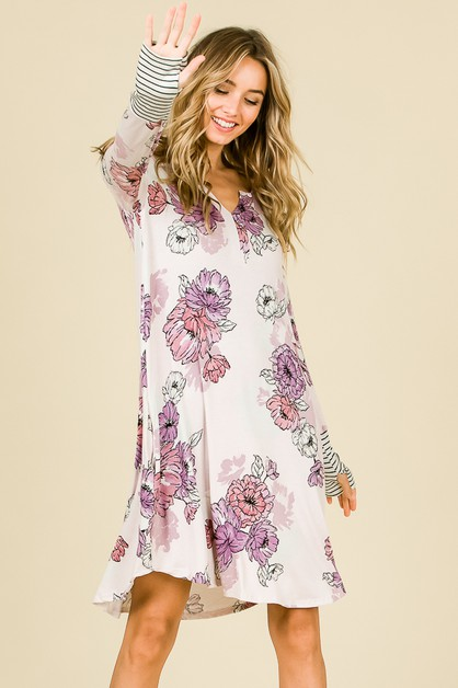 FLORAL LONG SLEEVE DRESS  - orangeshine.com