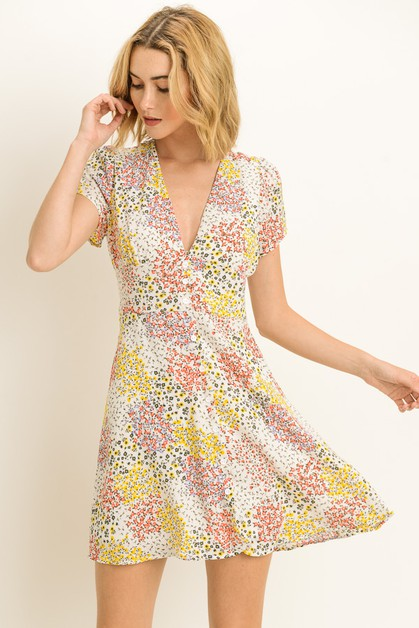Floral V Neck Dress - orangeshine.com