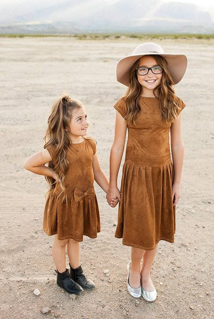 Rosie Dress - Little Girl Brown - orangeshine.com