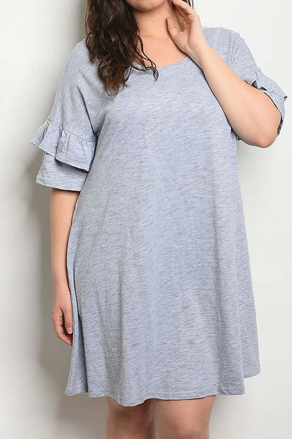 DOUBLE SLEEVE PLUS SIZE DRESS - orangeshine.com