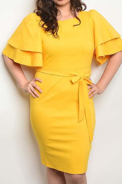 DOUBLE BELL SLEEVE WAIST TIE DRESS - orangeshine.com