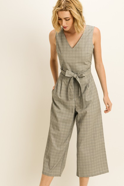 Back Tie Plaid Jumpsuit - orangeshine.com