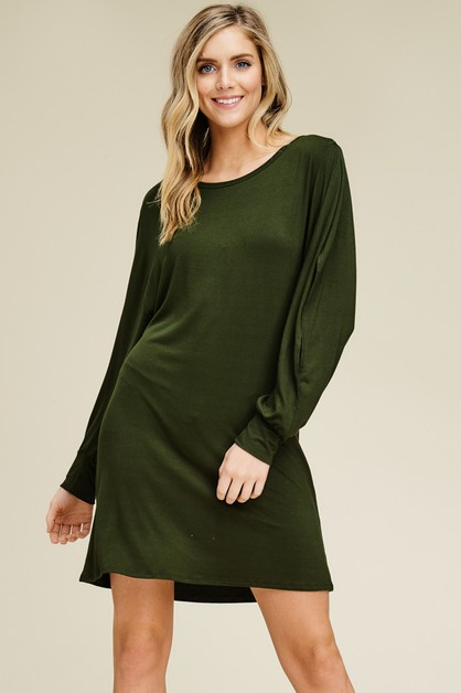 Comfy Dolman Slit Sleeve Dress - orangeshine.com